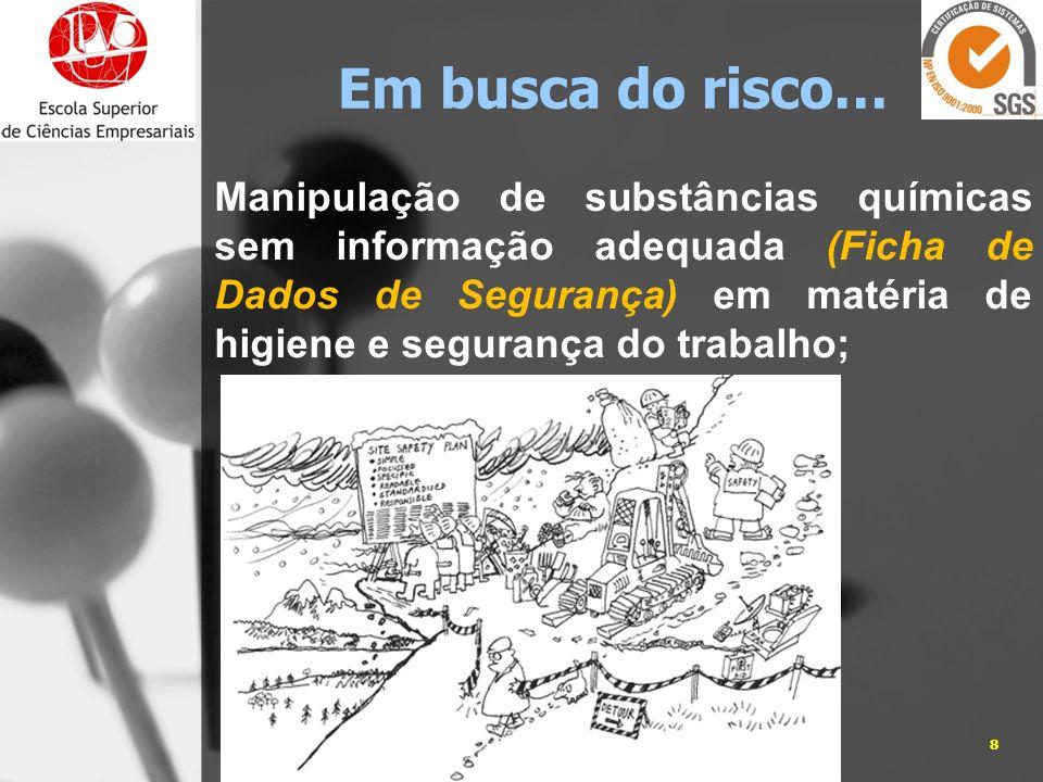 Manipulação de substâncias químicas sem informação adequada (Ficha de Dados de Segurança) em matéria de higiene e segurança do trabalho; 05-01-20148Jo