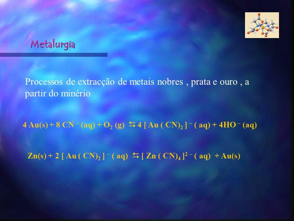 Metalurgia Processos de extracção de metais nobres, prata e ouro, a partir do minério 4 Au(s) + 8 CN – (aq) + O 2 (g) 4 [ Au ( CN) 2 ] – ( aq) + 4HO –