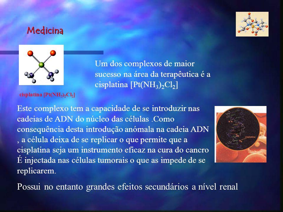 Medicina Um dos complexos de maior sucesso na área da terapêutica é a cisplatina [Pt(NH 3 ) 2 Cl 2 ] Este complexo tem a capacidade de se introduzir n