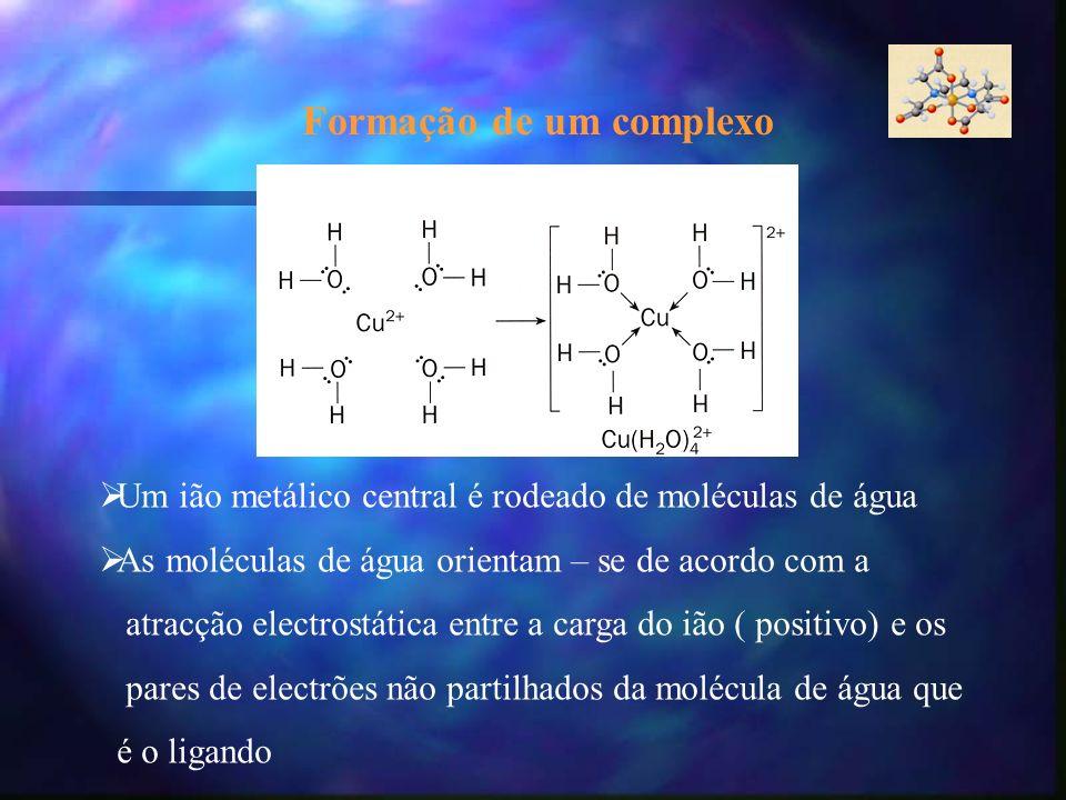 Um ião metálico central é rodeado de moléculas de água As moléculas de água orientam – se de acordo com a atracção electrostática entre a carga do ião