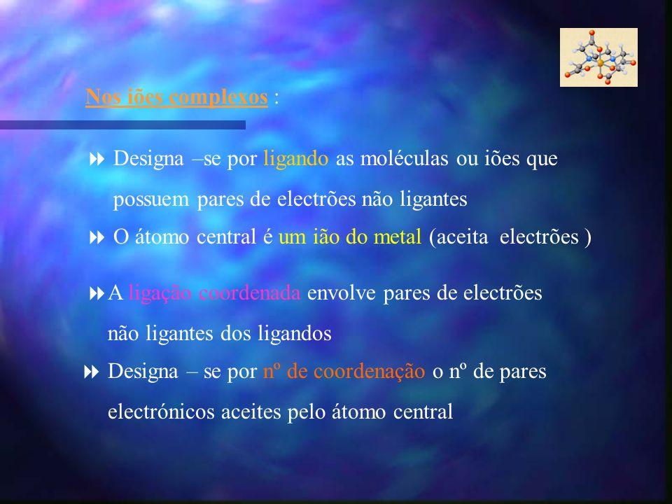 Nos iões complexos : Designa –se por ligando as moléculas ou iões que possuem pares de electrões não ligantes O átomo central é um ião do metal (aceit