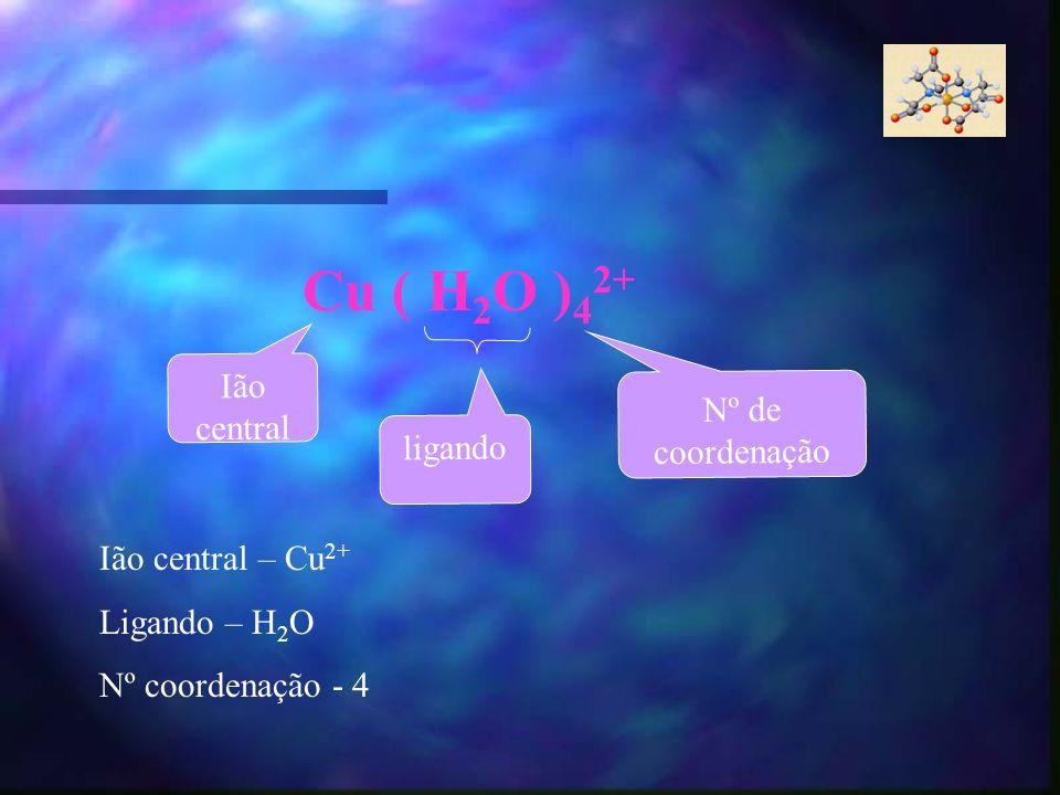 Cu ( H 2 O ) 4 2+ Ião central ligando Nº de coordenação Ião central – Cu 2+ Ligando – H 2 O Nº coordenação - 4