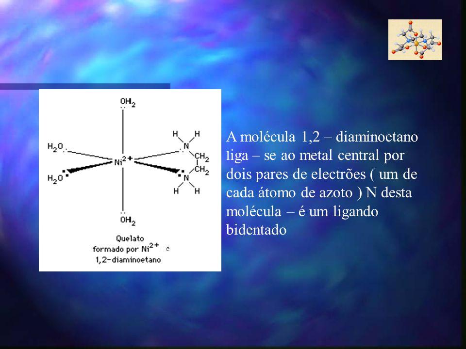 e A molécula 1,2 – diaminoetano l iga – se ao metal central por dois pares de electrões ( um de cada átomo de azoto ) N desta molécula – é um ligando