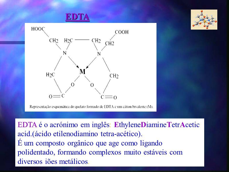 EDTA EDTA é o acrónimo em inglês: EthyleneDiamineTetrAcetic acid.(ácido etilenodiamino tetra-acético). É um composto orgânico que age como ligando pol