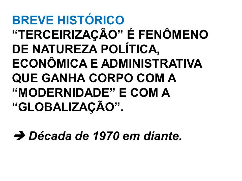BREVE HISTÓRICO TERCEIRIZAÇÃO É FENÔMENO DE NATUREZA POLÍTICA, ECONÔMICA E ADMINISTRATIVA QUE GANHA CORPO COM A MODERNIDADE E COM A GLOBALIZAÇÃO. Déca