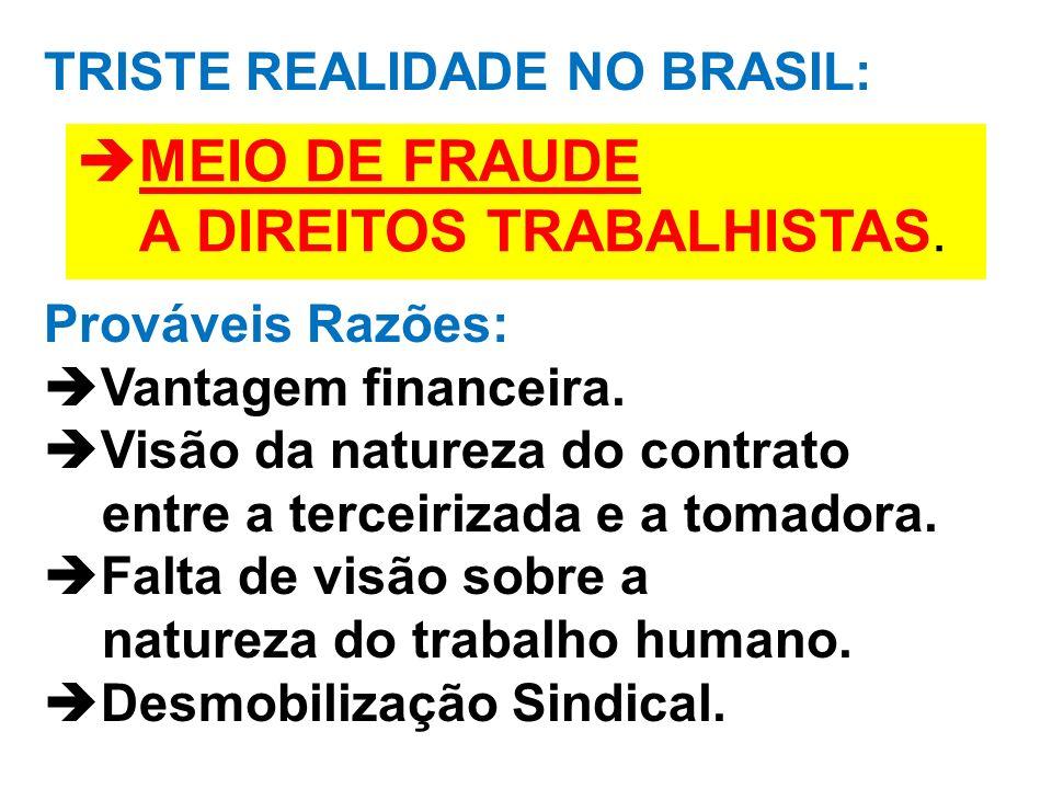TRISTE REALIDADE NO BRASIL: Prováveis Razões: Vantagem financeira. Visão da natureza do contrato entre a terceirizada e a tomadora. Falta de visão sob