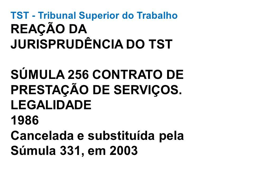 TST - Tribunal Superior do Trabalho REAÇÃO DA JURISPRUDÊNCIA DO TST SÚMULA 256 CONTRATO DE PRESTAÇÃO DE SERVIÇOS. LEGALIDADE 1986 Cancelada e substitu