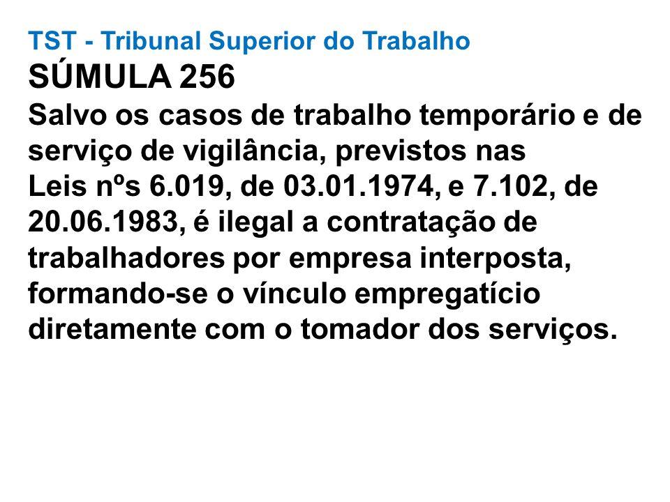 TST - Tribunal Superior do Trabalho SÚMULA 256 Salvo os casos de trabalho temporário e de serviço de vigilância, previstos nas Leis nºs 6.019, de 03.0