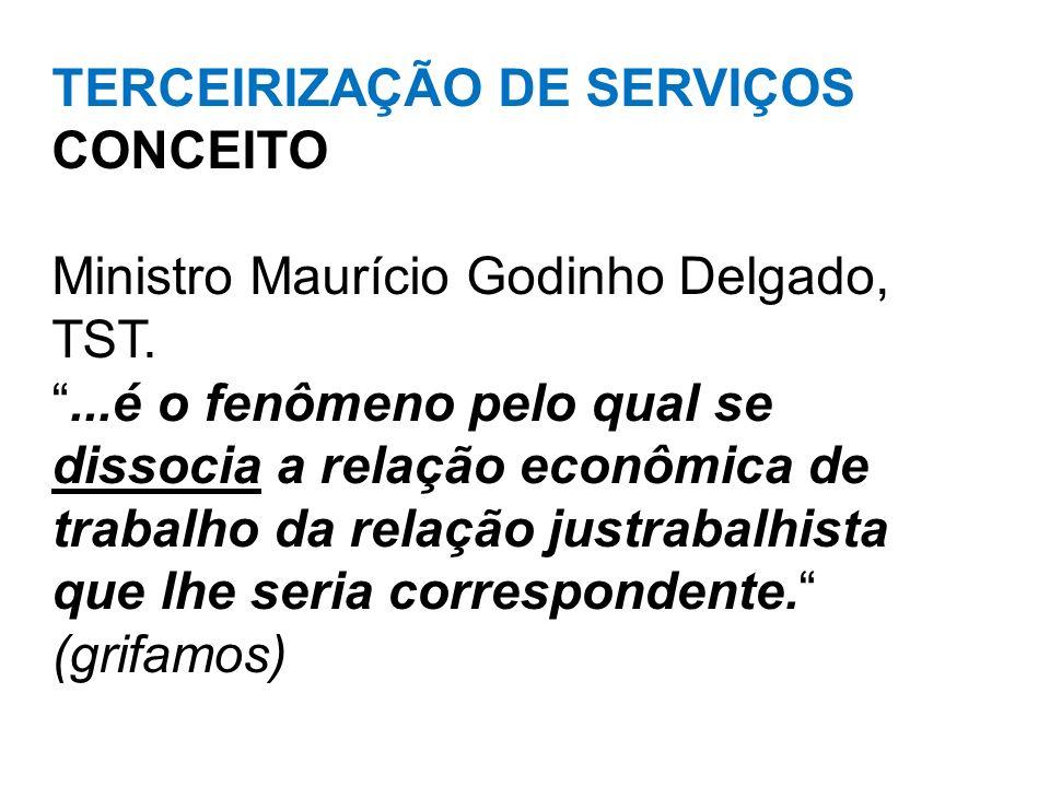 TERCEIRIZAÇÃO DE SERVIÇOS CONCEITO Ministro Maurício Godinho Delgado, TST....é o fenômeno pelo qual se dissocia a relação econômica de trabalho da rel