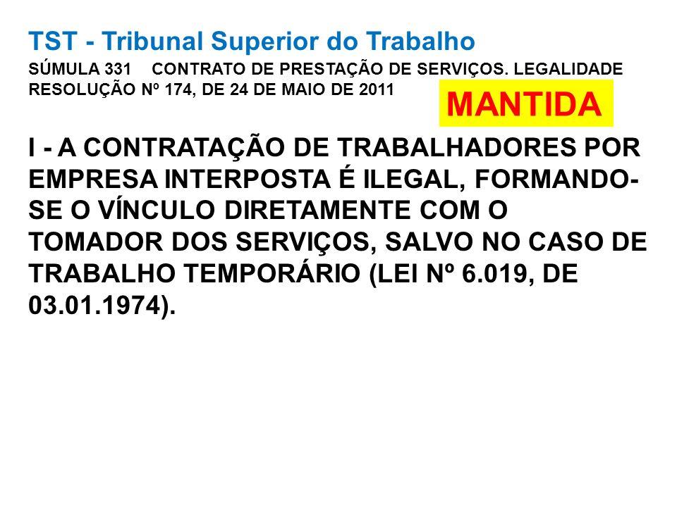 TST - Tribunal Superior do Trabalho SÚMULA 331 CONTRATO DE PRESTAÇÃO DE SERVIÇOS. LEGALIDADE RESOLUÇÃO Nº 174, DE 24 DE MAIO DE 2011 I - A CONTRATAÇÃO