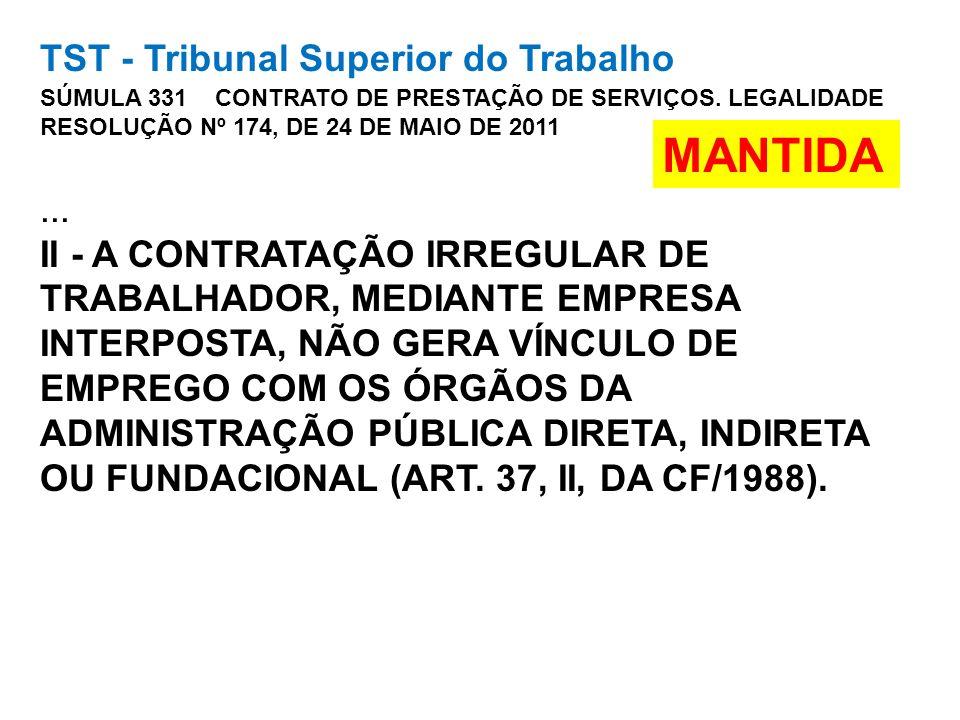 TST - Tribunal Superior do Trabalho SÚMULA 331 CONTRATO DE PRESTAÇÃO DE SERVIÇOS. LEGALIDADE RESOLUÇÃO Nº 174, DE 24 DE MAIO DE 2011... II - A CONTRAT