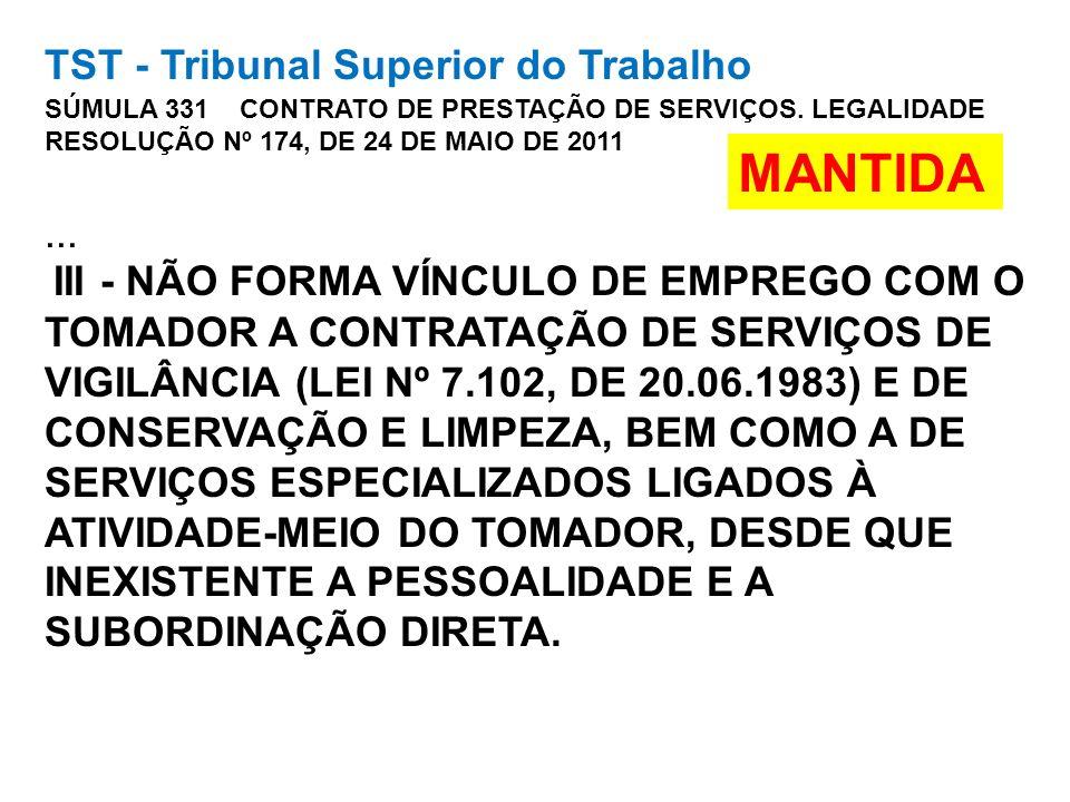 TST - Tribunal Superior do Trabalho SÚMULA 331 CONTRATO DE PRESTAÇÃO DE SERVIÇOS. LEGALIDADE RESOLUÇÃO Nº 174, DE 24 DE MAIO DE 2011... III - NÃO FORM