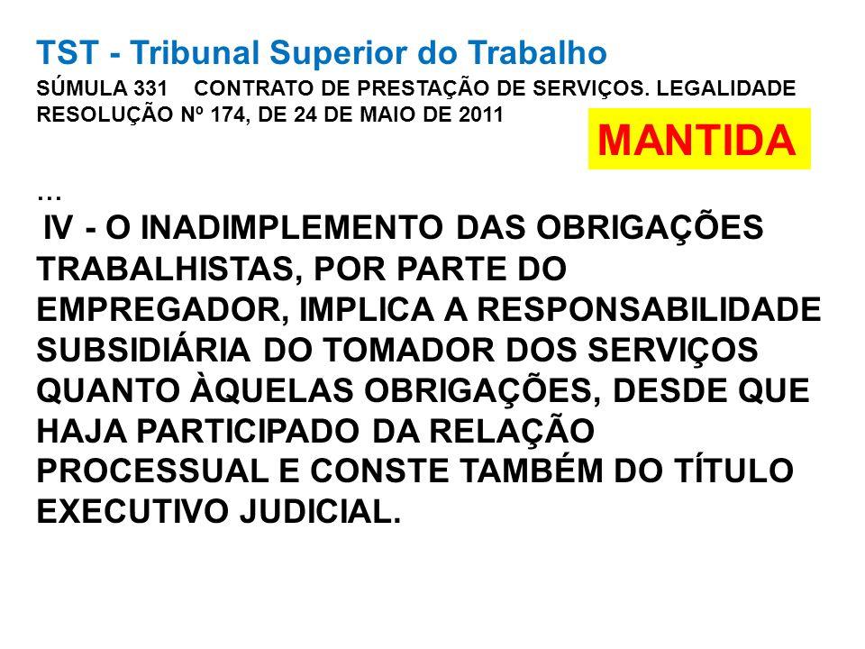 TST - Tribunal Superior do Trabalho SÚMULA 331 CONTRATO DE PRESTAÇÃO DE SERVIÇOS. LEGALIDADE RESOLUÇÃO Nº 174, DE 24 DE MAIO DE 2011... IV - O INADIMP