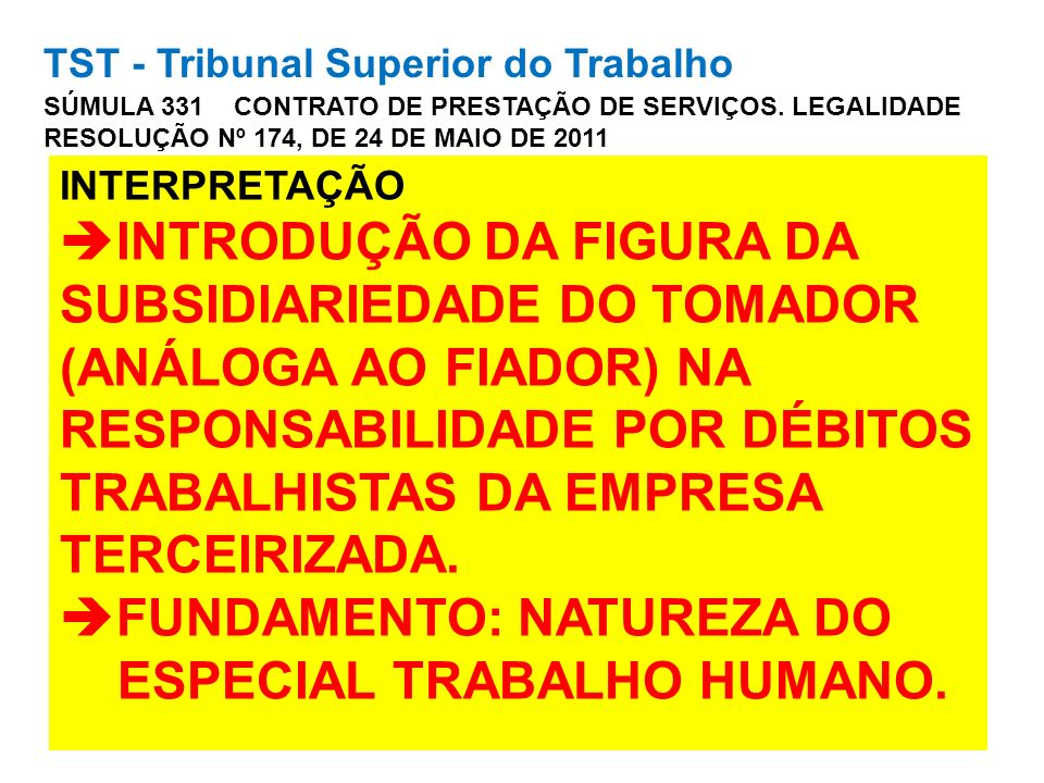 TST - Tribunal Superior do Trabalho SÚMULA 331 CONTRATO DE PRESTAÇÃO DE SERVIÇOS. LEGALIDADE RESOLUÇÃO Nº 174, DE 24 DE MAIO DE 2011 INTERPRETAÇÃO INT