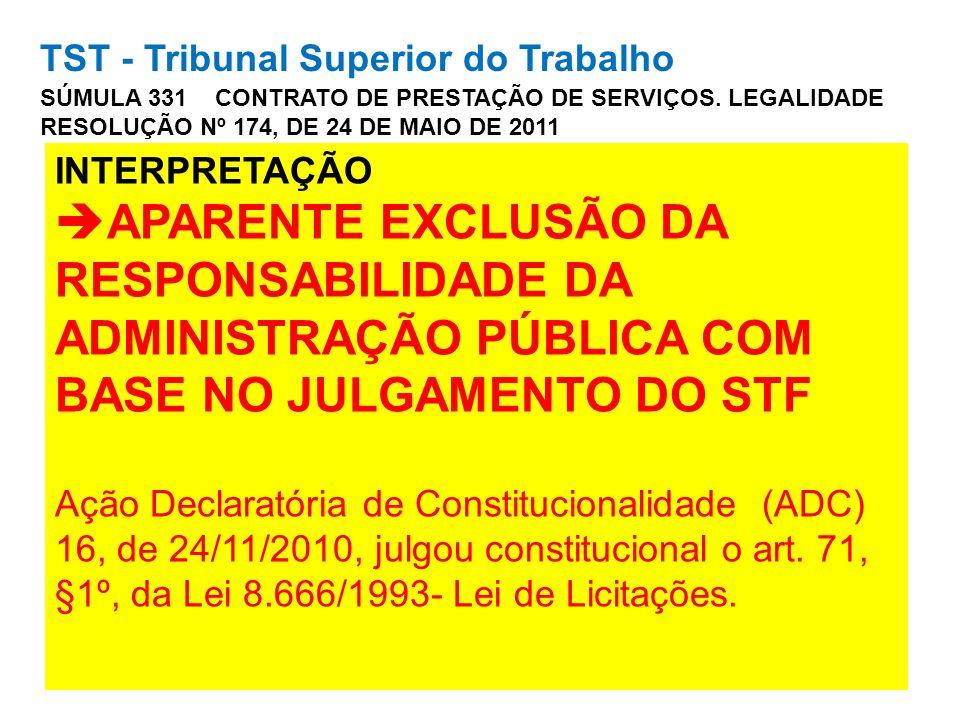 TST - Tribunal Superior do Trabalho SÚMULA 331 CONTRATO DE PRESTAÇÃO DE SERVIÇOS. LEGALIDADE RESOLUÇÃO Nº 174, DE 24 DE MAIO DE 2011 INTERPRETAÇÃO APA