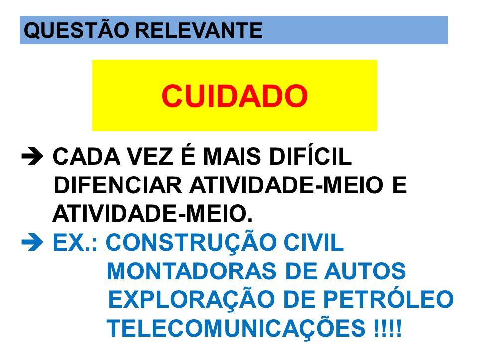 QUESTÃO IMPORTANTE CADA VEZ É MAIS DIFÍCIL DIFENCIAR ATIVIDADE-MEIO E ATIVIDADE-MEIO. EX.: CONSTRUÇÃO CIVIL MONTADORAS DE AUTOS EXPLORAÇÃO DE PETRÓLEO