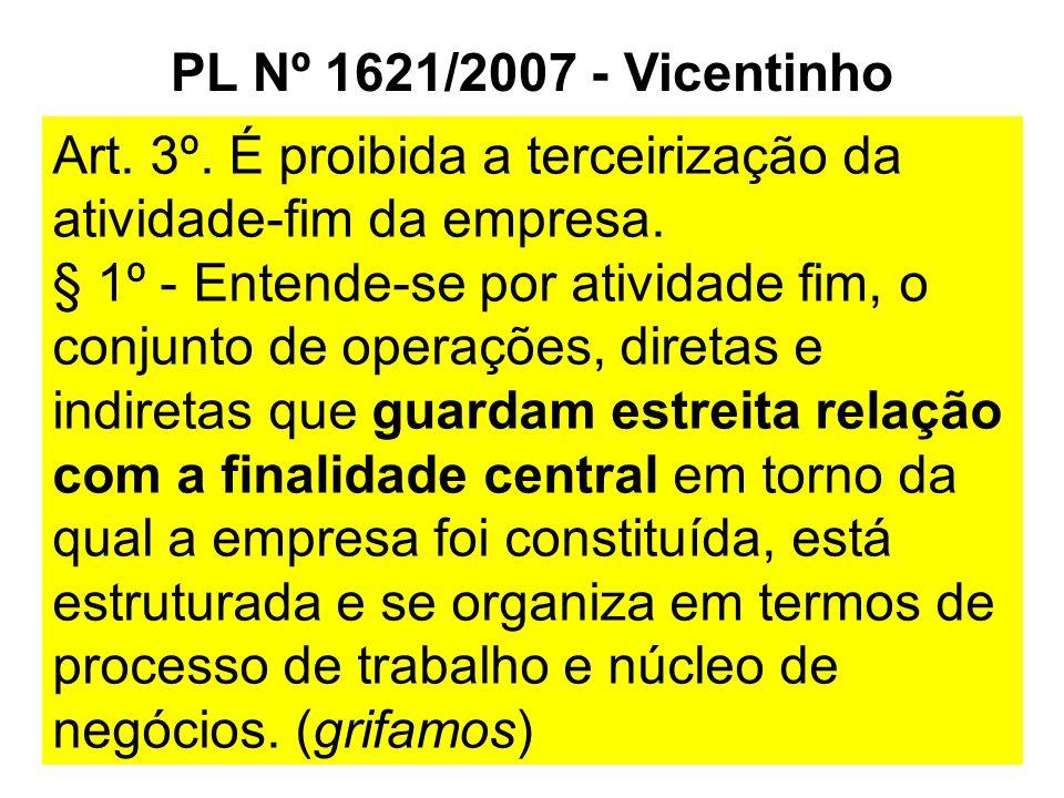 PL Nº 1621/2007 - Vicentinho Art. 3º. É proibida a terceirização da atividade-fim da empresa. § 1º - Entende-se por atividade fim, o conjunto de opera