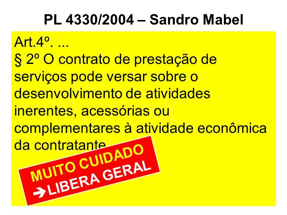PL 4330/2004 – Sandro Mabel Art.4º.... § 2º O contrato de prestação de serviços pode versar sobre o desenvolvimento de atividades inerentes, acessória