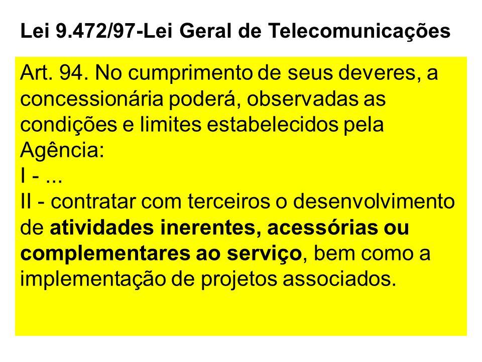 Lei 9.472/97-Lei Geral de Telecomunicações Art. 94. No cumprimento de seus deveres, a concessionária poderá, observadas as condições e limites estabel