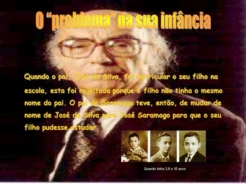 Quando o pai, José da Silva, foi matricular o seu filho na escola, esta foi rejeitada porque o filho não tinha o mesmo nome do pai. O pai de Saramago