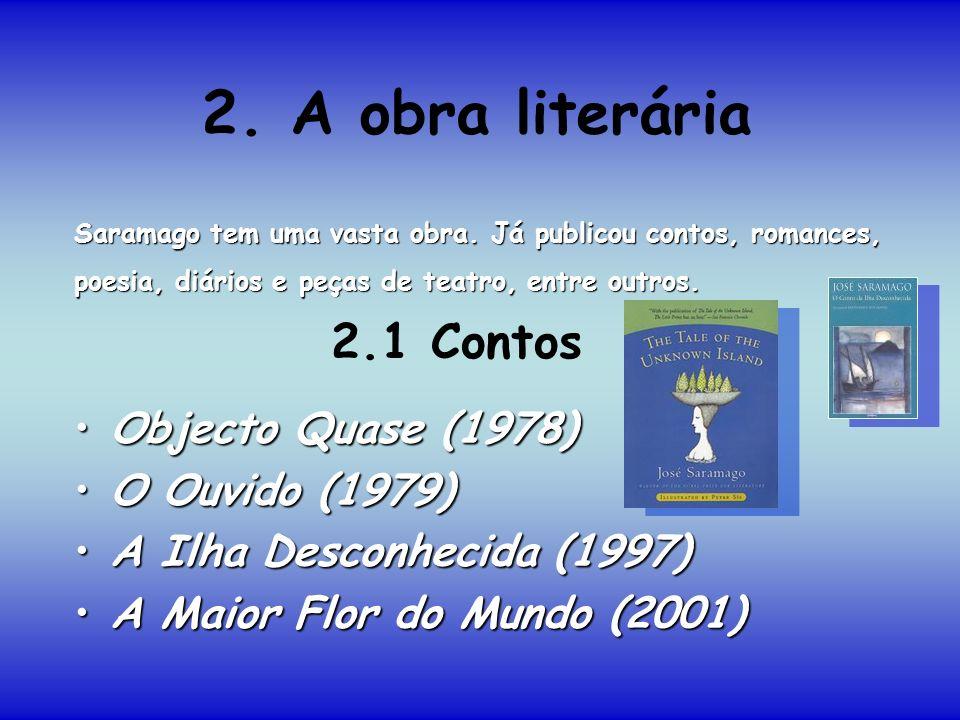 2. A obra literária Objecto Quase (1978)Objecto Quase (1978) O Ouvido (1979)O Ouvido (1979) A Ilha Desconhecida (1997)A Ilha Desconhecida (1997) A Mai