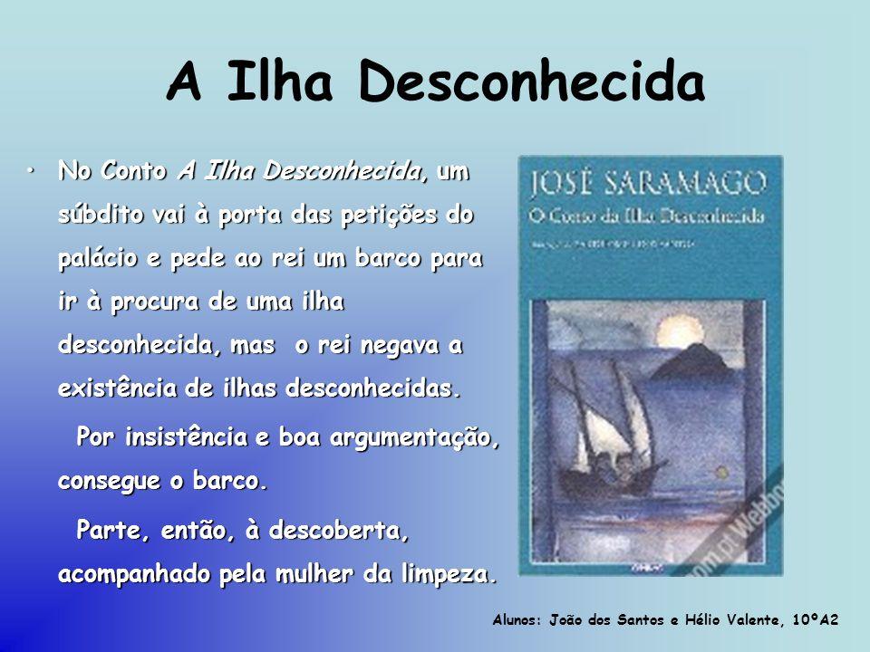 A Ilha Desconhecida No Conto A Ilha Desconhecida, um súbdito vai à porta das petições do palácio e pede ao rei um barco para ir à procura de uma ilha
