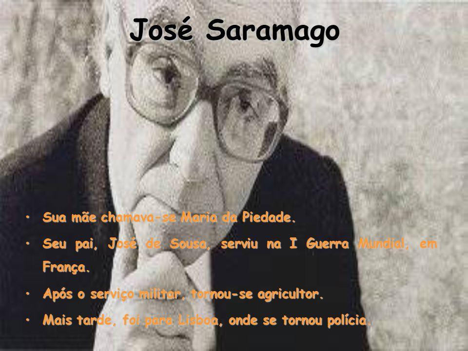 José Saramago NOME: José de Sousa SaramagoNOME: José de Sousa Saramago NATURALIDADE: aldeia de Azinhaga, concelho da Golegã,NATURALIDADE: aldeia de Azinhaga, concelho da Golegã, Ribatejo, Portugal Ribatejo, Portugal NASCIMENTO: 16 de Novembro de 1922.NASCIMENTO: 16 de Novembro de 1922.