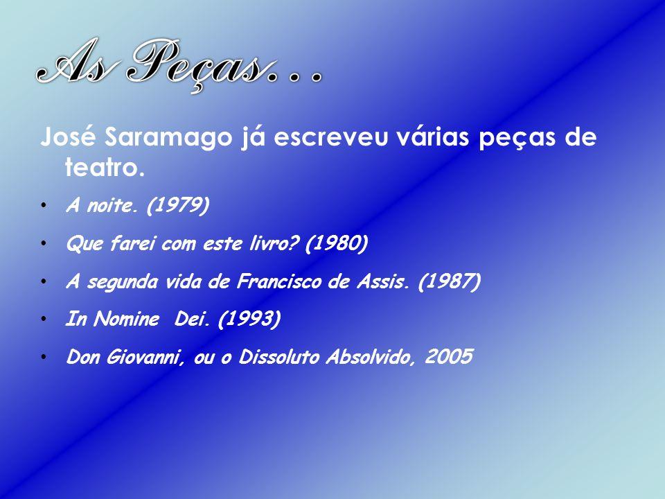 José Saramago já escreveu várias peças de teatro. A noite. (1979) Que farei com este livro? (1980) A segunda vida de Francisco de Assis. (1987) In Nom