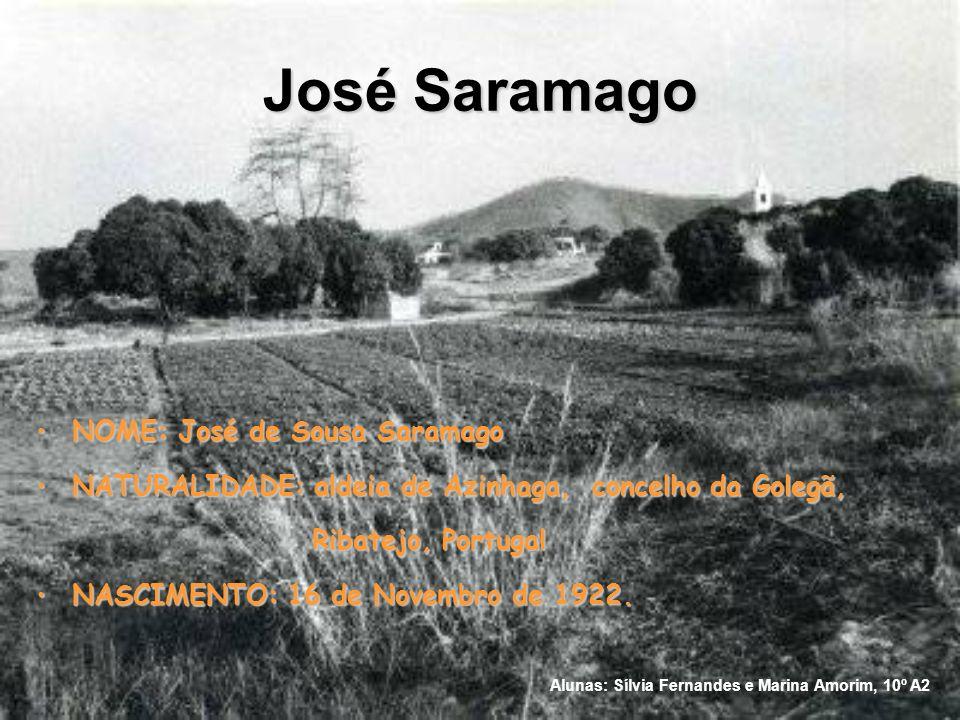 José Saramago NOME: José de Sousa SaramagoNOME: José de Sousa Saramago NATURALIDADE: aldeia de Azinhaga, concelho da Golegã,NATURALIDADE: aldeia de Az