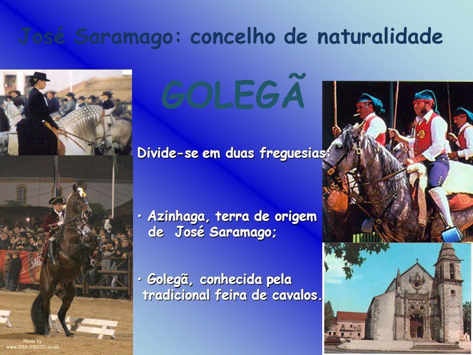 José Saramago: concelho de naturalidade GOLEGÃ Divide-se em duas freguesias: Azinhaga, terra de origem Azinhaga, terra de origem de José Saramago; de