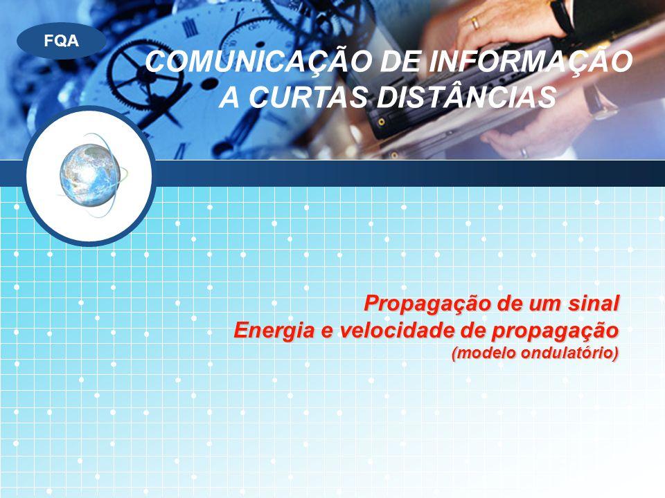 LOGO FQA Propagação de um sinal Energia e velocidade de propagação (modelo ondulatório) COMUNICAÇÃO DE INFORMAÇÃO A CURTAS DISTÂNCIAS