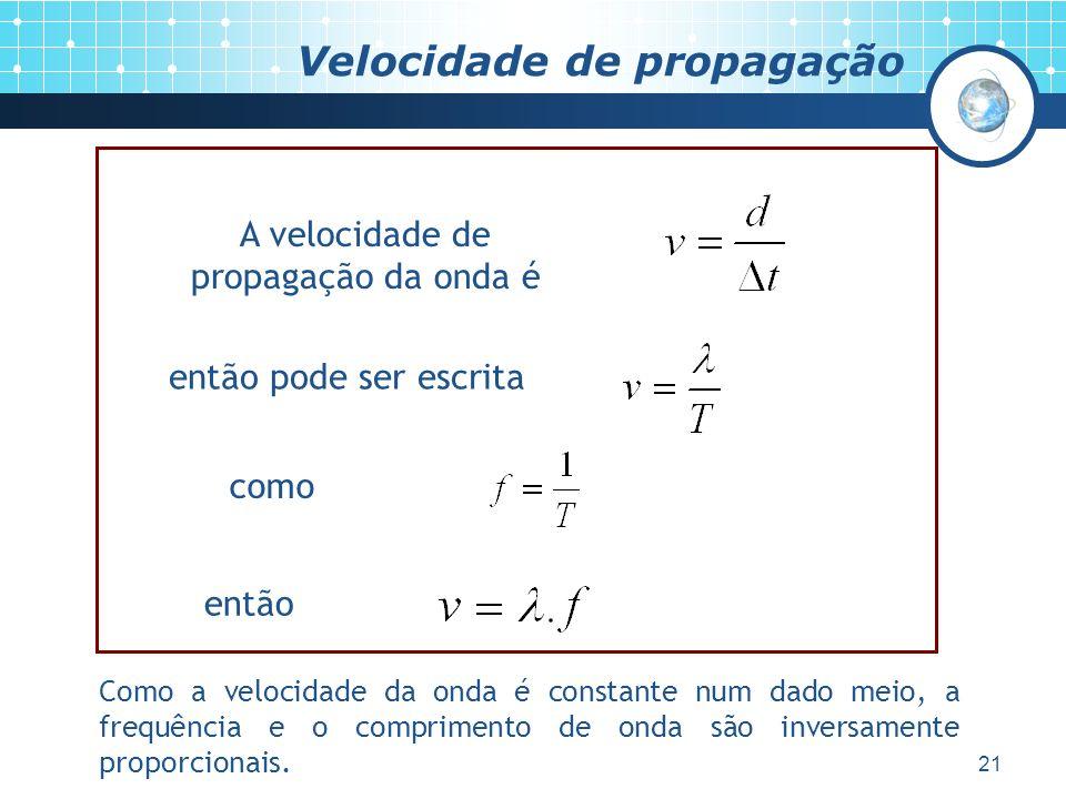 21 Velocidade de propagação A velocidade de propagação da onda é então pode ser escrita como então Como a velocidade da onda é constante num dado meio