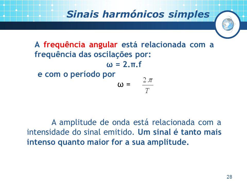 28 Sinais harmónicos simples A frequência angular está relacionada com a frequência das oscilações por: ω = 2.π.f e com o período por ω = A amplitude