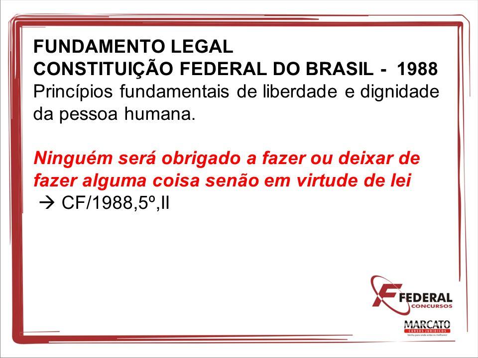 FUNDAMENTO LEGAL CONSTITUIÇÃO FEDERAL DO BRASIL - 1988 Princípios fundamentais de liberdade e dignidade da pessoa humana. Ninguém será obrigado a faze