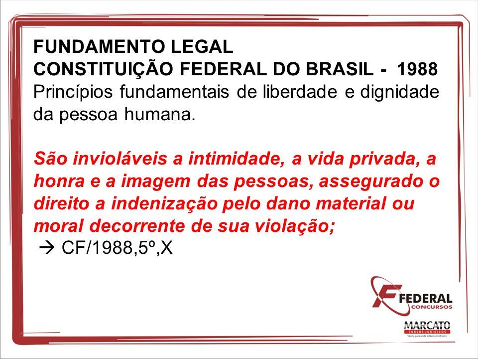 FUNDAMENTO LEGAL CONSTITUIÇÃO FEDERAL DO BRASIL - 1988 Princípios fundamentais de liberdade e dignidade da pessoa humana. São invioláveis a intimidade