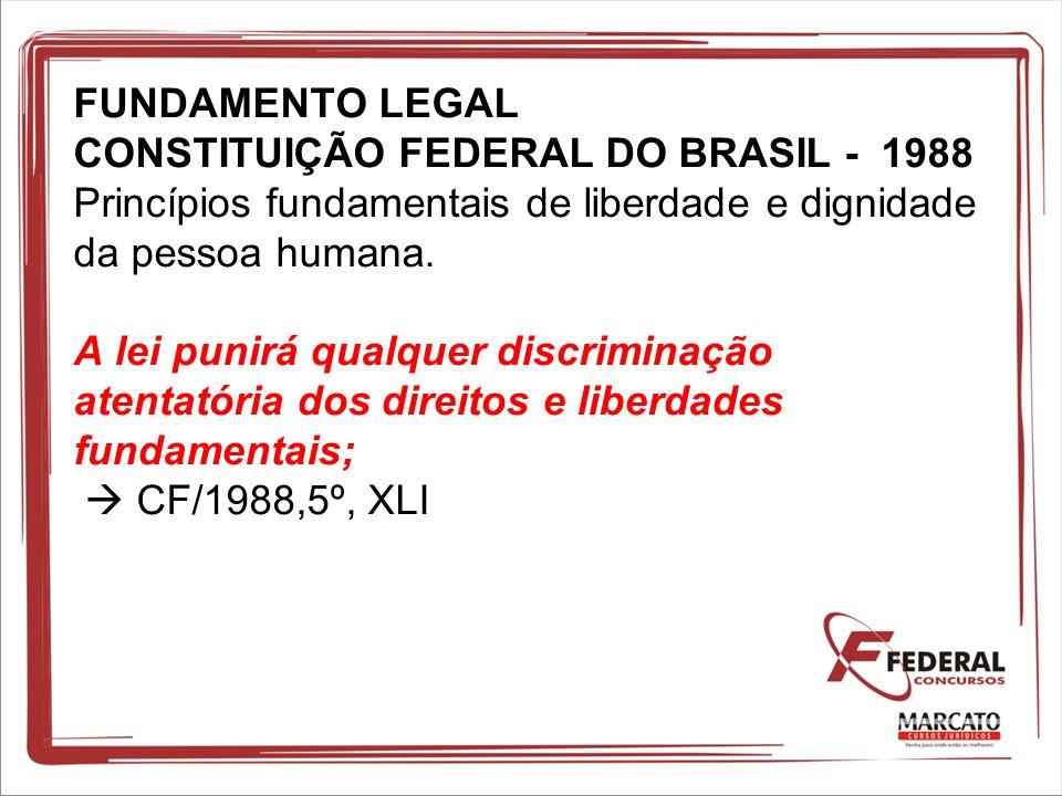 FUNDAMENTO LEGAL CONSTITUIÇÃO FEDERAL DO BRASIL - 1988 Princípios fundamentais de liberdade e dignidade da pessoa humana. A lei punirá qualquer discri
