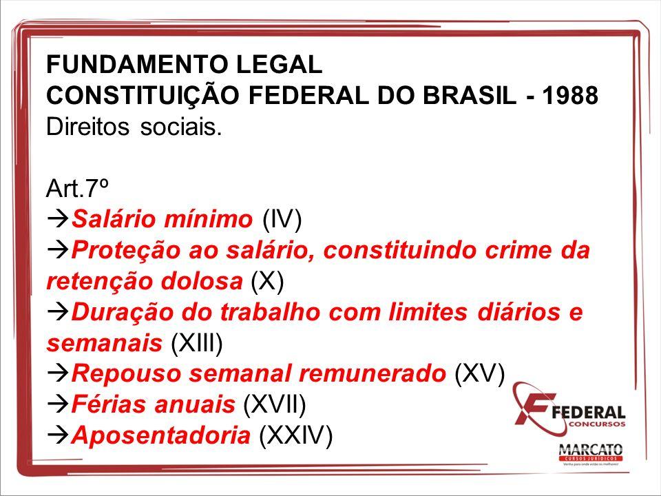 FUNDAMENTO LEGAL CONSTITUIÇÃO FEDERAL DO BRASIL - 1988 Direitos sociais. Art.7º Salário mínimo (IV) Proteção ao salário, constituindo crime da retençã