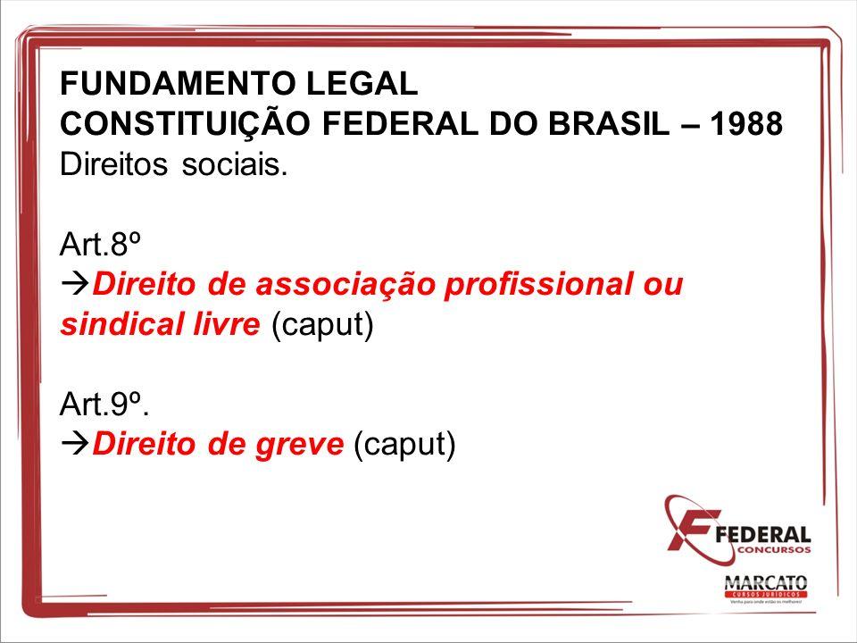 FUNDAMENTO LEGAL CONSTITUIÇÃO FEDERAL DO BRASIL – 1988 Direitos sociais. Art.8º Direito de associação profissional ou sindical livre (caput) Art.9º. D