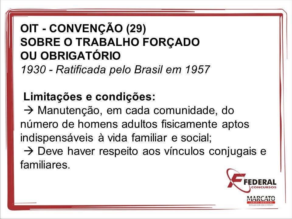 OIT - CONVENÇÃO (29) SOBRE O TRABALHO FORÇADO OU OBRIGATÓRIO 1930 - Ratificada pelo Brasil em 1957 Limitações e condições: Manutenção, em cada comunid