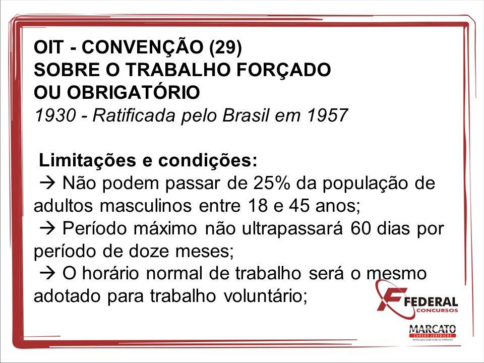 OIT - CONVENÇÃO (29) SOBRE O TRABALHO FORÇADO OU OBRIGATÓRIO 1930 - Ratificada pelo Brasil em 1957 Limitações e condições: Não podem passar de 25% da