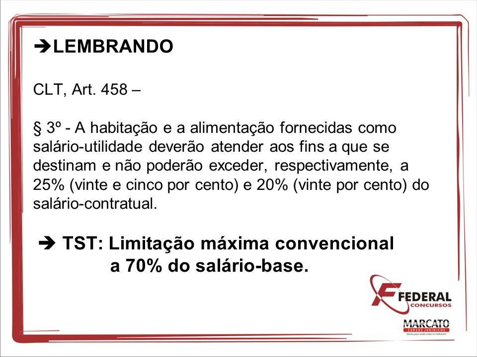 LEMBRANDO CLT, Art. 458 – § 3º - A habitação e a alimentação fornecidas como salário-utilidade deverão atender aos fins a que se destinam e não poderã