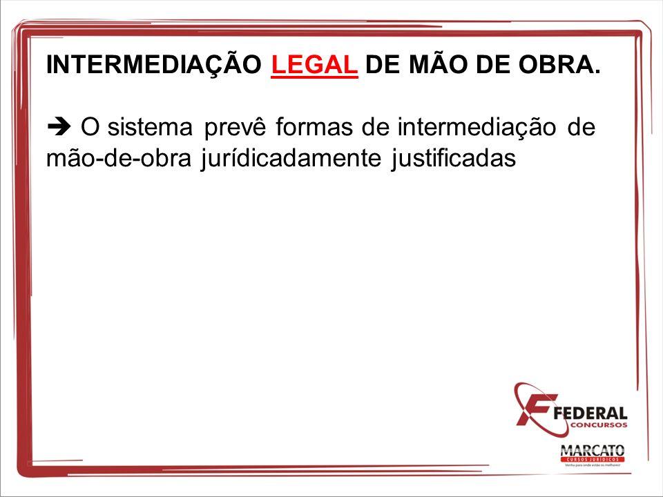 INTERMEDIAÇÃO LEGAL DE MÃO DE OBRA. O sistema prevê formas de intermediação de mão-de-obra jurídicadamente justificadas