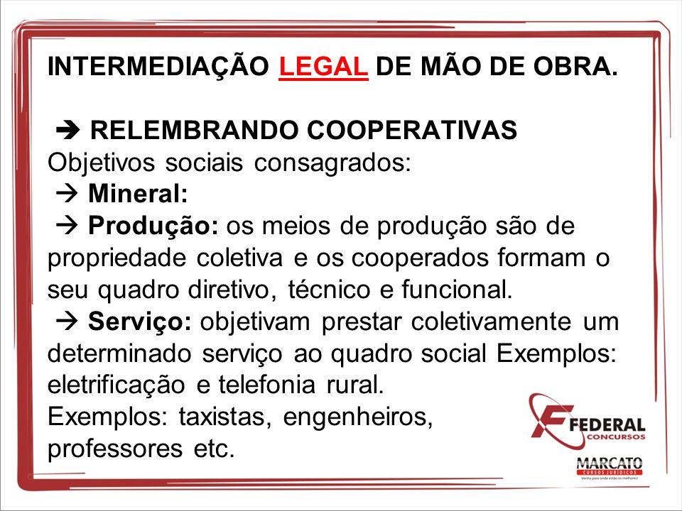 INTERMEDIAÇÃO LEGAL DE MÃO DE OBRA. RELEMBRANDO COOPERATIVAS Objetivos sociais consagrados: Mineral: Produção: os meios de produção são de propriedade