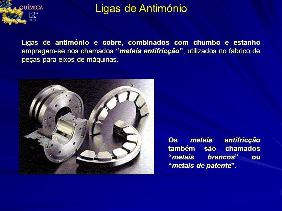 Ligas de Antimónio Ligas de antimónio e cobre, combinados com chumbo e estanho empregam-se nos chamados metais antifricção, utilizados no fabrico de p