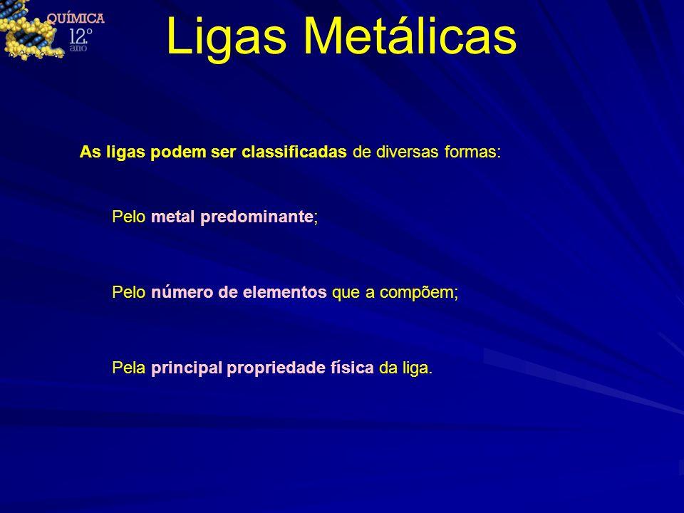 Ligas Metálicas As ligas podem ser classificadas de diversas formas: Pelo metal predominante; Pelo número de elementos que a compõem; Pela principal p