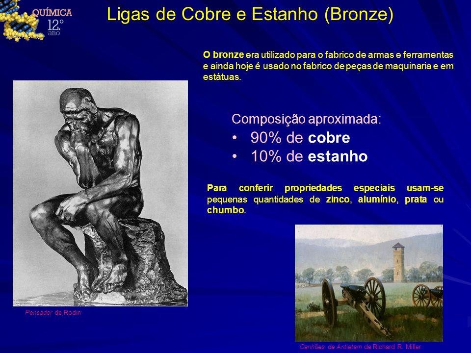 Ligas de Cobre e Estanho (Bronze) O bronze era utilizado para o fabrico de armas e ferramentas e ainda hoje é usado no fabrico de peças de maquinaria