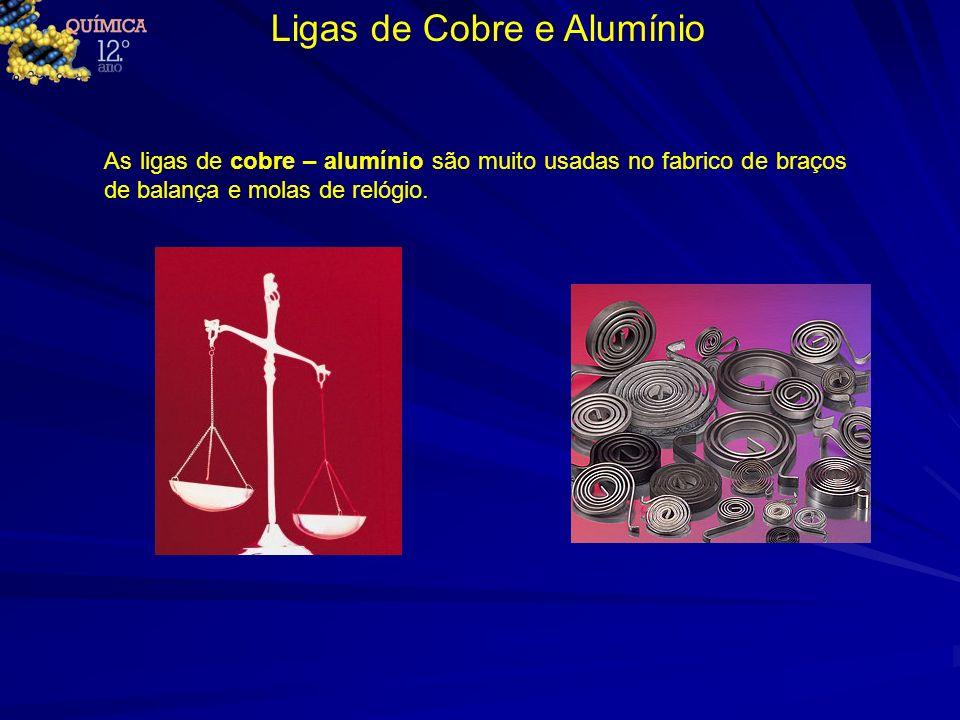 Ligas de Cobre e Alumínio As ligas de cobre – alumínio são muito usadas no fabrico de braços de balança e molas de relógio.