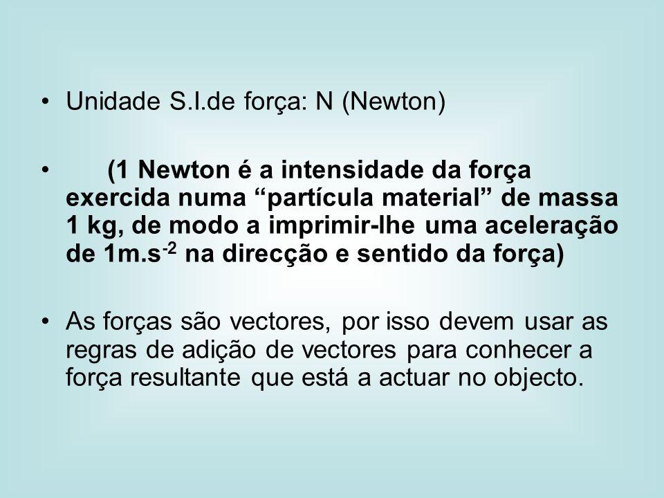 Unidade S.I.de força: N (Newton) (1 Newton é a intensidade da força exercida numa partícula material de massa 1 kg, de modo a imprimir-lhe uma acelera