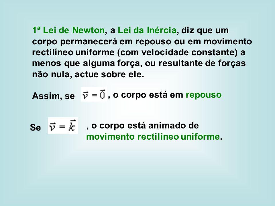 1ª Lei de Newton, a Lei da Inércia, diz que um corpo permanecerá em repouso ou em movimento rectilíneo uniforme (com velocidade constante) a menos que