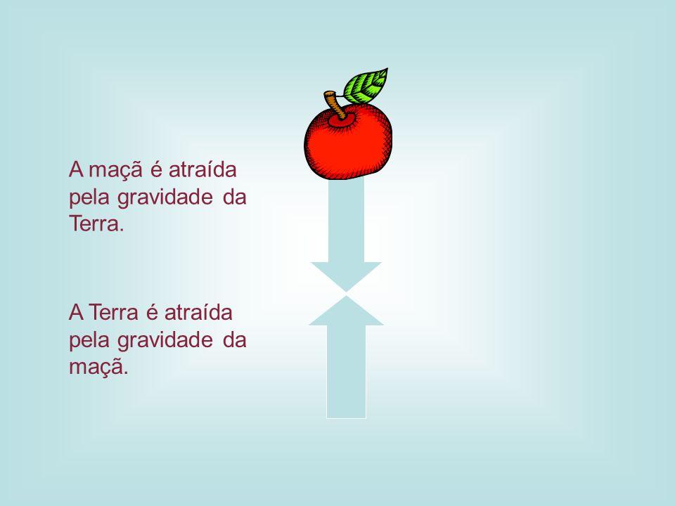 A maçã é atraída pela gravidade da Terra. A Terra é atraída pela gravidade da maçã.